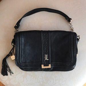 LAMB Genuine Black Leather & Chain Shoulder Bag